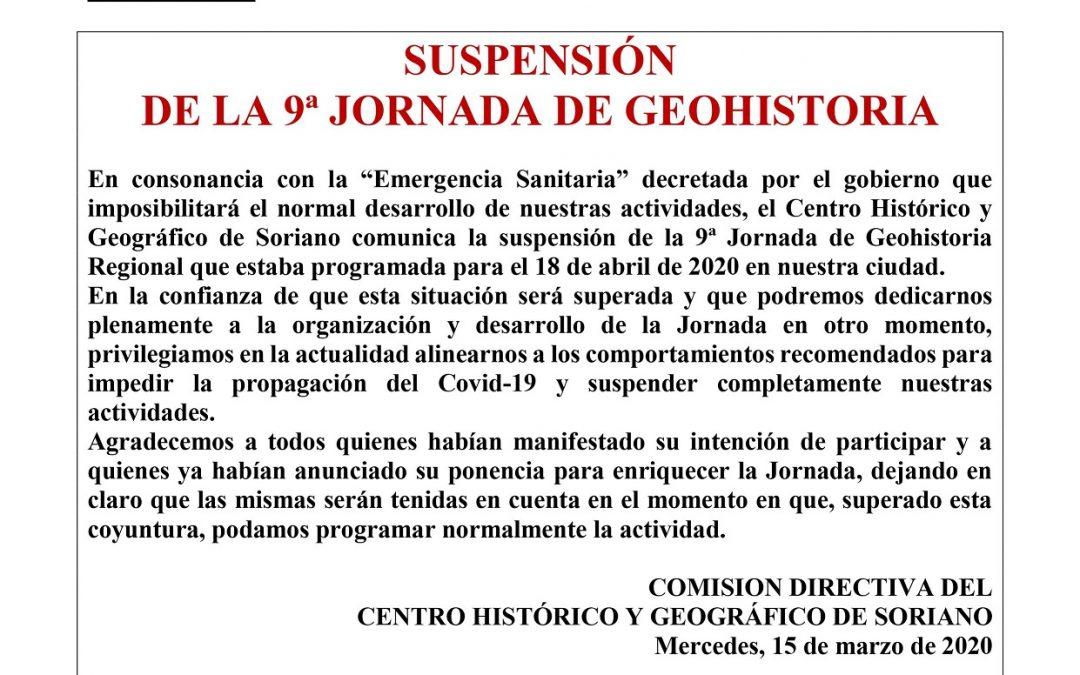 Suspensión de la 9ª Jornada de GeoHistoria Regional