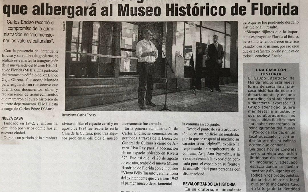 Reinauguración del Museo Histórico de Florida